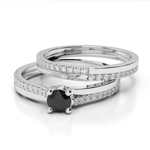 1.90Ct Black Simulated Diamond 14K White Gold Finish Wedding Bridal Ring Set  - $99.99