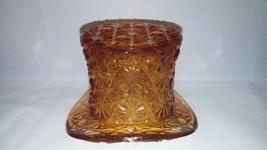 Vintage Fenton Amber Daisy Button Top Hat Toothpick Holder Depression Gl... - $14.01