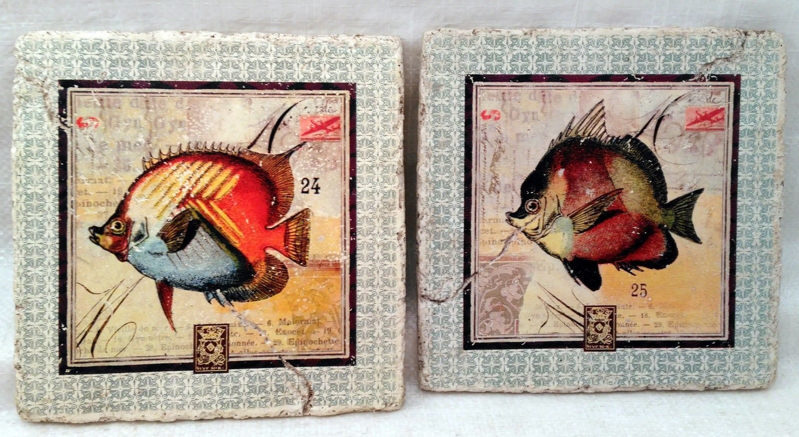 Fish Stamp Plaques Set of 2