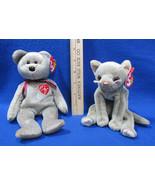 Ty Beanie Babies Stuffed Animal Signature Bear 1999 & Scat Kitty Cat 98 ... - $12.22