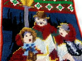 """Needlepoint stocking Christmas Carolers by lamplight velvet back 16"""" - $21.77"""