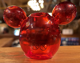 Disney Parks Mickey Mouse Icon Red Glass Toothpick Holder NEW - $18.90