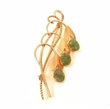 Vintage Pretty Bouquet Green Gem Bell Drop Flowers Signed VD 12K GF Pin*... - $44.55