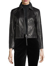 Stylish Studded Cropped Front Zip Women's Genuine Lambskin Leather biker... - $169.00