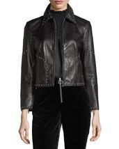 Stylish Studded Cropped Front Zip Women's Genuine Lambskin Leather biker... - $169.00