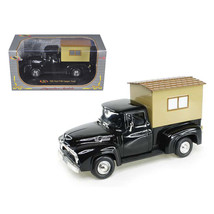 1956 Ford F-100 Pickup Truck Black with Camper 1/32 Diecast Model Car by... - $26.63