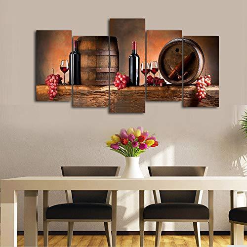 2017 Wall Art Fruit Grape Red Wine Glass Picture Art For: Cao Gen Decor Art-K60527 5 Panels Wall Art Fruit Grape Red