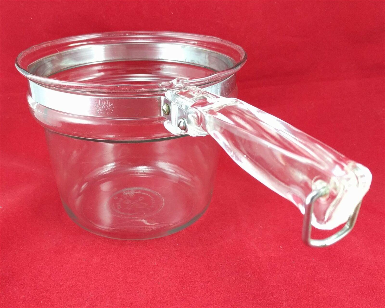 Pyrex Flameware 6283U 1½ qt Vintage Glass Saucepan w/ Stainless Steel Band image 2