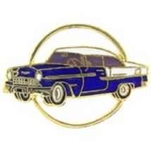 Chevy 1955 Gold Circle Blue Car Emblem Pin Pinback               - $7.91
