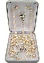 First Communion White Prayer Bead Rosary Necklace with Chalice Centerpie... - $22.28
