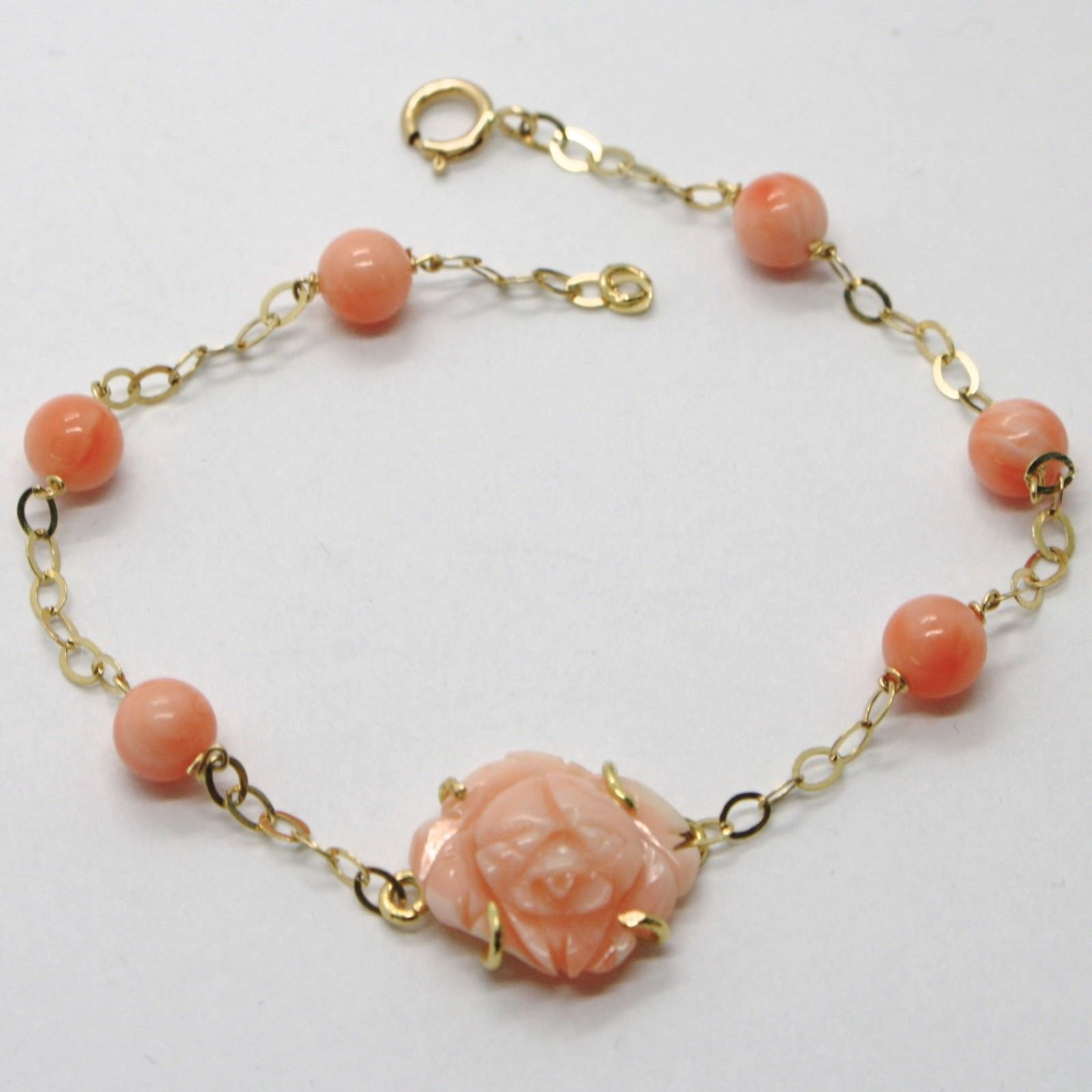 BRACELET YELLOW GOLD 18K 750 CORAL PINK NATURAL FLOWER-SHAPED MADE IN ITALY