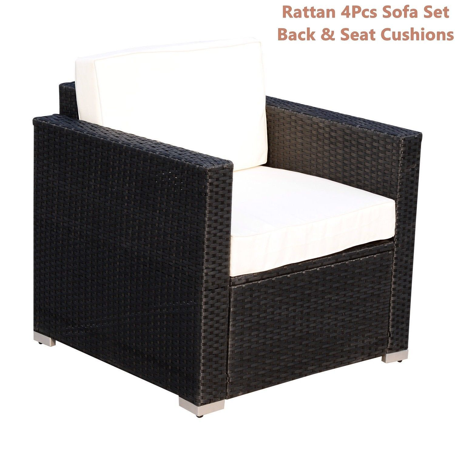 Rattan Sofa Cushioned Set Garden Wicker Glass Top Table Armchairs 4Pcs Black New image 9