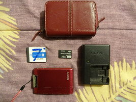 Sony Cyber-shot DSC-T200 8.1MP Digital Camera red, charger battery 16 GB memory - $44.99