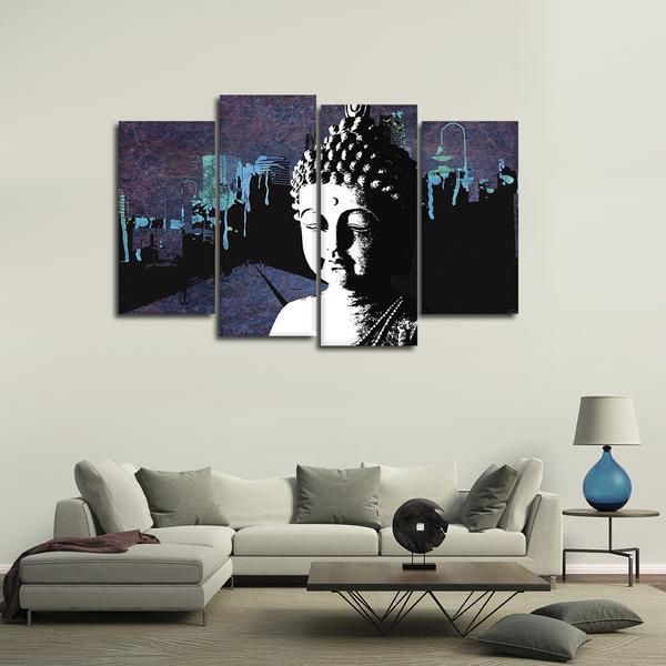 Framed 4 Piece Contemporary Buddha Picture Poster Canvas Wall Art ...