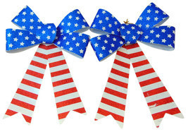 Patriotic USA Decorative Kit with Two Glitter Bows and American Flag Doo... - €11,21 EUR