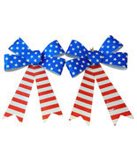 Patriotic USA Decorative Kit with Two Glitter Bows and American Flag Doo... - $13.06