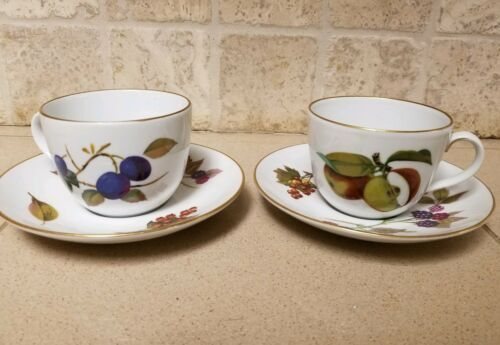 Set 2 Vintage Royal Worcester Evesham Tea Cup & Saucer England Plum Apples Plate