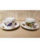 Set 2 Vintage Royal Worcester Evesham Tea Cup & Saucer England Plum Appl... - $17.45