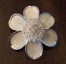 Vintage Silver Tone Flower Brooch - $15.00