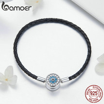 BAMOER Authentic 925 Sterling Silver Blue Eyes Leather Bracelets for Wom... - $24.74+