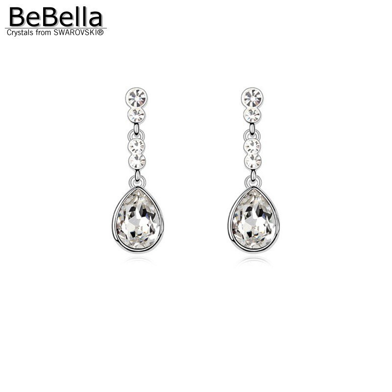 pierced crystal drop earrings made with crystals from swarovski for women fashion jewelry lover