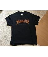 Thrasher Magazine San Francisco Men's T-Shirt Size Large Black Flames Logo - $10.80