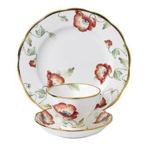 Royal Albert 100 Years 1970 Poppy Teacup Saucer and Plate 3 Piece New 40... - $116.97