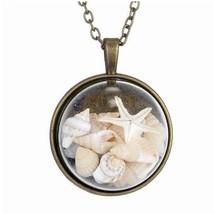 BEACH GIRL Sea Shells In Glass Locket Pendant Necklace - $32.80