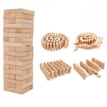 54 Blocks Stacking Wooden Classic Game Educational Fun Family Activity W... - £7.24 GBP+