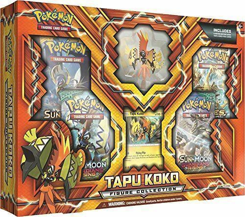 Tapu Koko Figure Collection & Lycanroc GX Box POKEMON TCG 8 Booster Packs