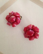 Vintage Red Iridescent Jeweled Acrylic Cluster Beaded Fashion Clip On Earrings  - $30.00