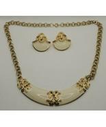 Fashion Jewelry Gold-tone Cream Necklace & Pierced Earrings Set 7058 - $12.34