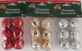 Christmas Ornaments Disco Balls 1 Inch w Loops 6 Ct/Pk  SELECT: Red, Gold or Sil - $2.99