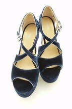 Michael Kors Blue Velvet Womans Shoes Leather Sz 10 M Harlen Platform Heels - $85.00