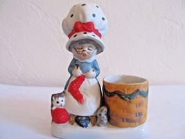 Vintage '78 Jasco Christmas Luvkins Mrs.Claus Porcelain Candle Tooth Pic... - $7.37