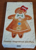 Holiday Ceramic Gingerbread Girl Candy Dish Plate Collectible RARE N/B - €13,47 EUR
