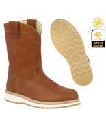 Mens Honey Brown Work Boots Pull On Oil Resistant Genuine Leather Rounde... - £38.57 GBP