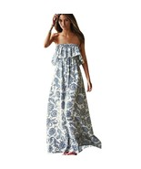 2019 Women Elegant Bohemia Floral Printed Strapless Long Dresses Lady Bo... - $70.64+