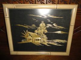 Vintage Framed Asian Art Bamboo Straw Painting House Scene Woven Material - $381.99