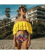 Women Swimwear Ruffle Vintage Bandeau High Waist Swimsuit Bikinis Bathin... - $37.99