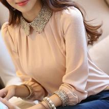NEW Style Fashion Women Doll Collar Chiffon Long Sleeve Casual Blouse Shirt Top