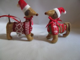 2 Dachshund Weiner Dogs  in Sweaters and hats  Ornaments - $14.80