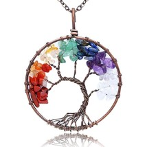 "Tree Of Life Pendant Necklace Handmade Gemstone With 26"" Brass Chain, Ch - $45.12"
