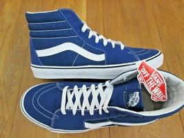 7076cf811e4 Vans Mens Sk8-Hi Estate Blue True White Canvas Suede Skate Shoes Size 11.