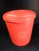 "Vintage Tupperware Orange Lg Canister w Servalier lid 7"" Tall - $4.99"