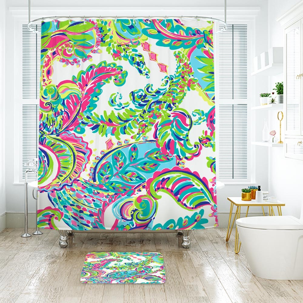 Primary image for Flower Lilly Toucan Play 02 Shower Curtain Waterproof & Bath Mat For Bathroom