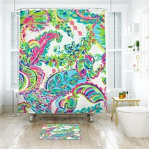 Flower Lilly Toucan Play 02 Shower Curtain Waterproof & Bath Mat For Bat... - $15.30+