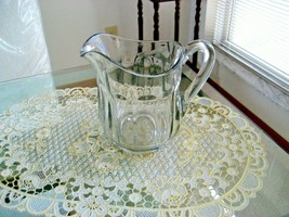 """Vintage Heavy Clear Glass Beverage Pitcher *Ten Panel  5"""" tall - $9.99"""