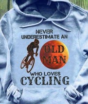 Never Underestimate An Old Man Who Loves Cycling Hoodie Sport Grey - $30.60+