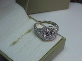 Judith Ripka Sterling Asscher Solitaire Trillion Diamonique Ring Sz 8 Ne... - $277.19